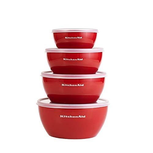 KitchenAid KC176BXERA Prep Schalen mit Deckel, 4 Stück, rot