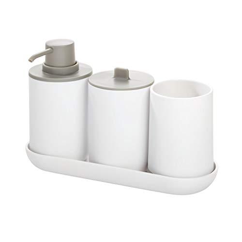 iDesign Badezimmer Set, vierteilige Badgarnitur mit Seifenspender,...