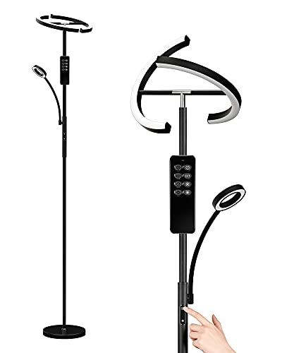 Anten Stehlampe LED Dimmbar   Schwarz Stehleuchte 20W mit flexibler 7W...