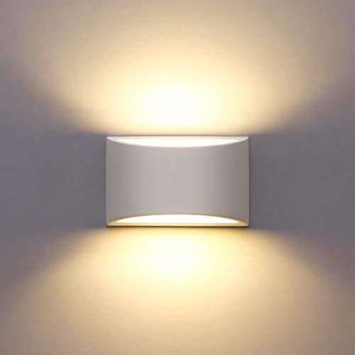 LED Wandleuchte Innen, 7W Weiß Gipsleuchte Modernes Design Wandlampe...
