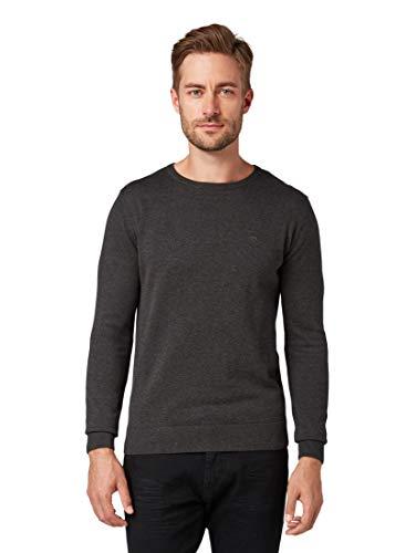TOM TAILOR Herren Basic Rundhalspullover' Pullover, Black Grey...