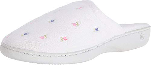 Isotoner Women's Terry Embroidered Scalloped Clog, White, 5.5-6 M US