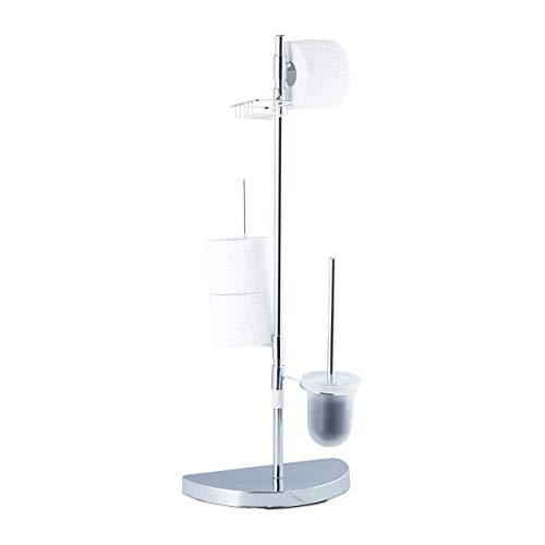 Relaxdays, Chrom Garnitur universal, Rollenhalter, WC-Bürste mit...