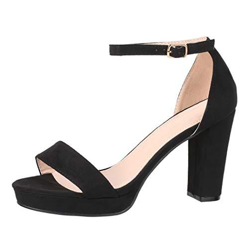 Elara Damen Pumps High Heels Chunkyrayan WW100 Black-37