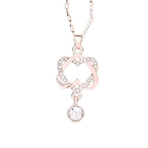 Dorical Halskette für Damen/Frauen Doppel Herz Anhänger Kette...