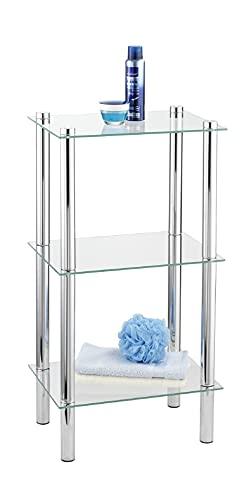 WENKO Regal Yago viereckig mit 3 Glasablagen - Badregal, Stahl, 40 x...