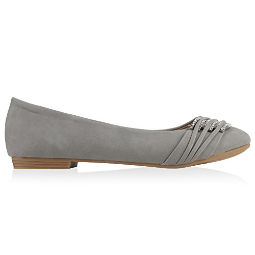 stiefelparadies Klassische Damen Strass Ballerinas Elegante Slipper...