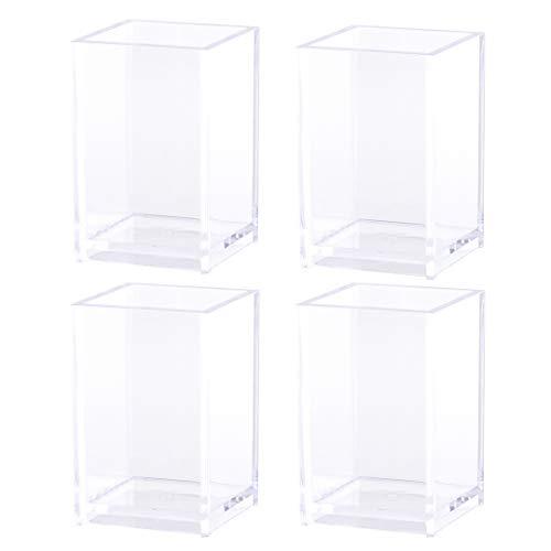 Stiftehalter aus Acryl, transparent, für den Schreibtisch, 4 Stück