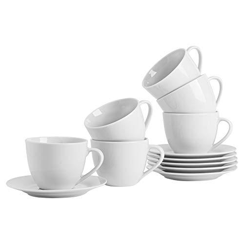 Argon Tableware Weißes, großes Cappuccino-Tassen/Untertassen-Set -...