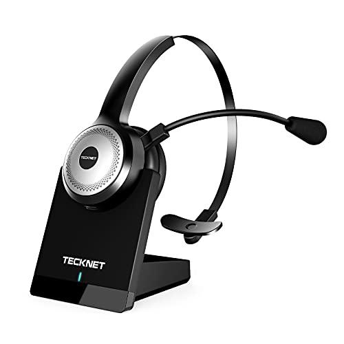 TECKNET Bluetooth Headset mit Mikrofon, PC Headset mit AI...