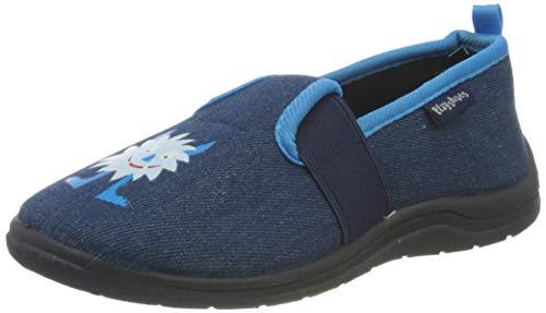 Playshoes Monster, Unisex-Kinder Niedrige Hausschuhe, Blau (jeansblau...