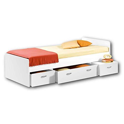 BORO Modernes Einzelbett mit 3x Schubkästen 90 x 200 cm - Praktisches...