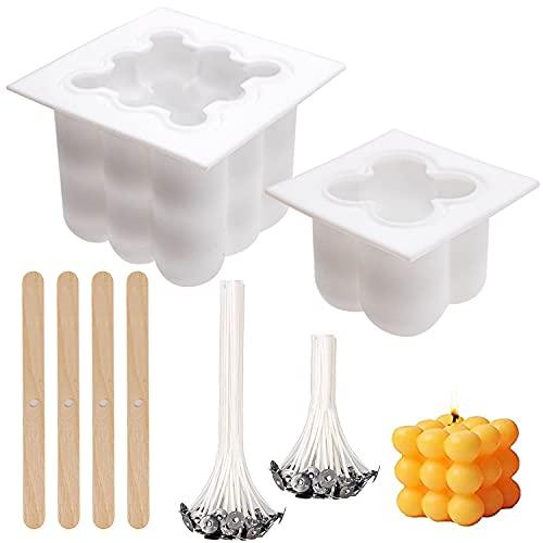 HUALIANG 2 Stück Kerzenformen, Kerzenform, Cube Kerzen Formen, mit...