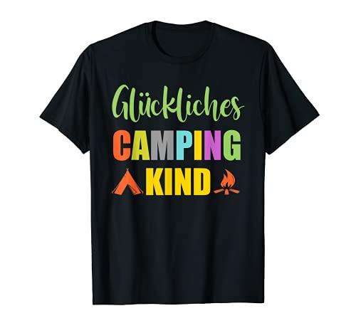 Glückliches Camping Kind Camper Caravan Zelt Kinder Camping T-Shirt