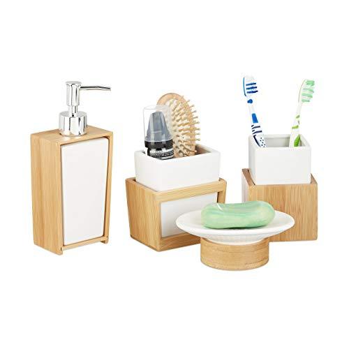 Relaxdays Badezimmer Set, 4-teiliges Badzubehör aus Keramik und...