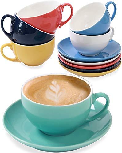 6er Cappuccino Tassen Set mit Untertassen - Keramik Bunt - Geschenkbox...