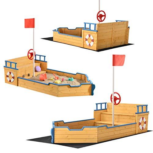 Juskys Sandkasten Käpt'n Pit - Piratenschiff Boot aus Holz –...