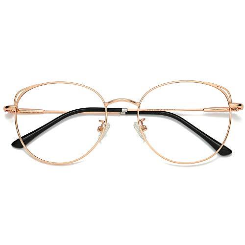 SOJOS Runde Brille Damen Blaulichtfilter Katzenaugen Computer-Gläser...