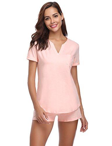 Hawiton Damen Schlafanzug Kurz Baumwolle Sommer Pyjama Nachtwäsche...