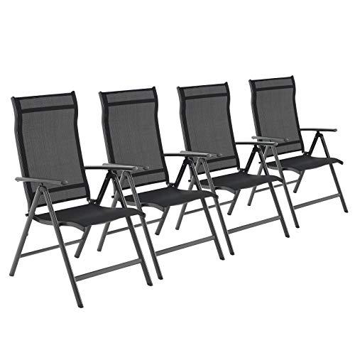 SONGMICS Gartenstühle, 4er Set, Klappstühle, Outdoor-Stühle mit...