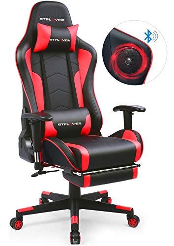 GTPLAYER Gaming Stuhl mit Fußstützen Bluetooth Lautsprecher Musik...