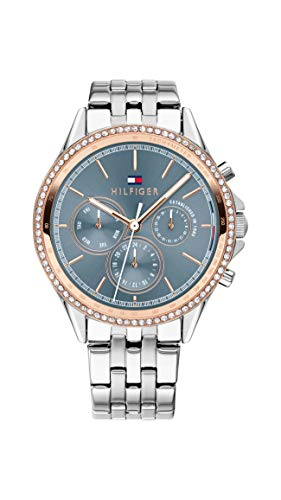 Tommy Hilfiger Damen Multi Zifferblatt Quarz Uhr mit Edelstahl Armband...