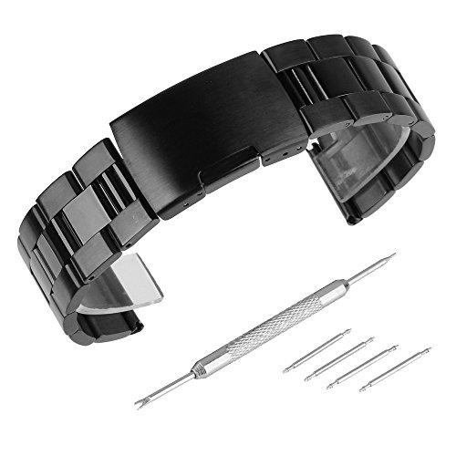 Beauty7 - 22mm Schwarz Edelstahl Uhrenarmband Uhrenarmbänder mit...