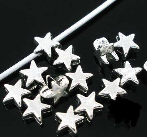 Handarbeit-Lieblingsladen 100 Stück Metallperlen Sterne 6x6mm...