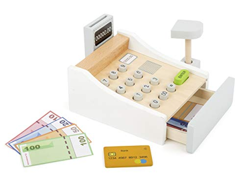 Small Foot 11099 Spielkasse aus Holz, inkl. Scanner, Kartenlesegerät,...