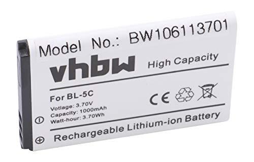 vhbw Li-Ion Akku 1000mAh (3.7V) für Handy, Smartphone, Telefon...