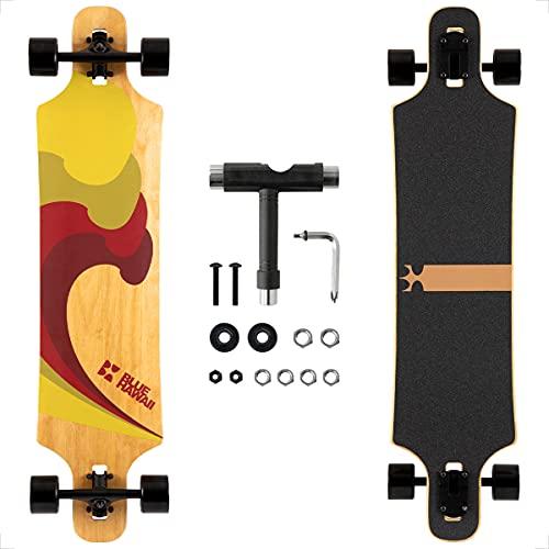 Longboard, Komplettboard mit Deck aus Bambus & Fiberglas, Flex 2...