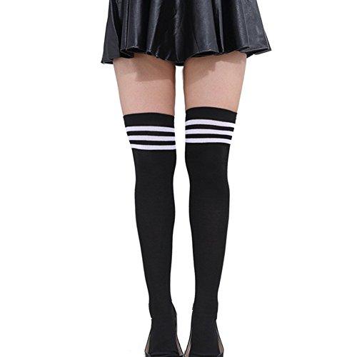 HugeStore Damen Frauen Lange Streifen Socken Overknee Strümpfe...