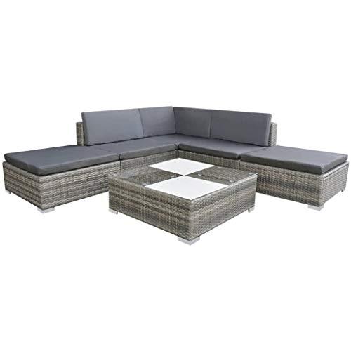 vidaXL Gartensofa 6-TLG. Poly Rattan Grau Sitzgruppe Lounge...