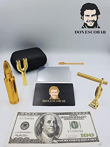 DON ESCOBAR Premium Luxus Gold Schnupftabak Ziehröhrchen Set Dosierer...