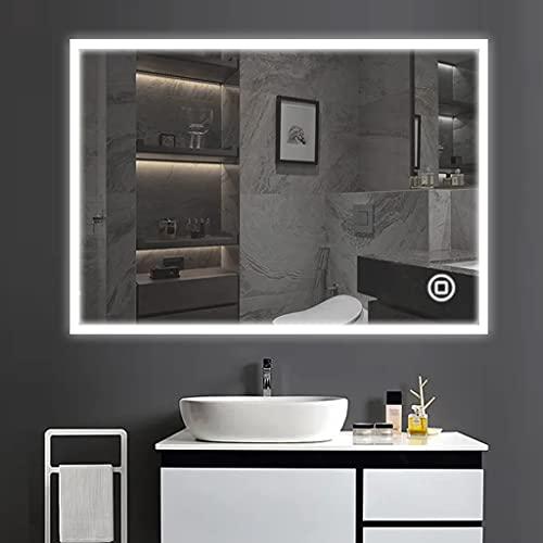 YOLEO Badspiegel mit Beleuchtung, Wandspiegel 100*70 cm, LED-Spiegel...