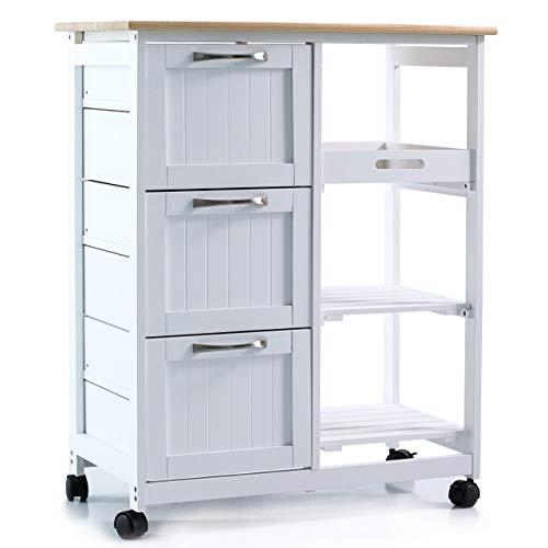 Küchenwagen auf Rollen, Servierwagen mit 3 Schubladen und 3 Ebenen,...