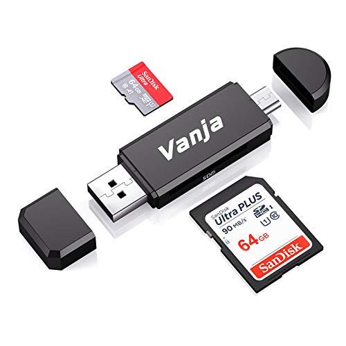 Vanja SD/Micro SD Kartenleser, Micro USB OTG Adapter und USB 2.0...