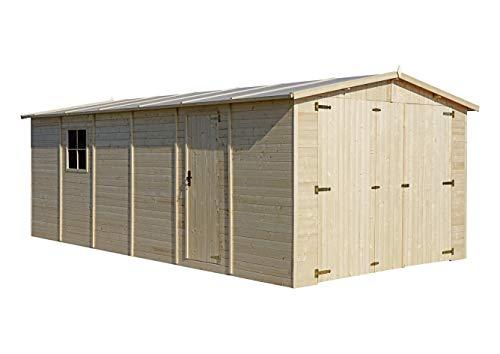 TIMBELA Holzgarage - Abstellraum mit Fenstern- H222x616x324 cm /18 m2...