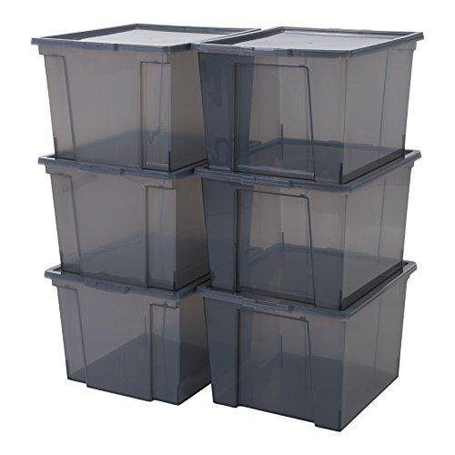 Iris Ohyama 6er-Set, Aufbewahrungsboxen, 40 L, mit Deckel, stapelbar,...