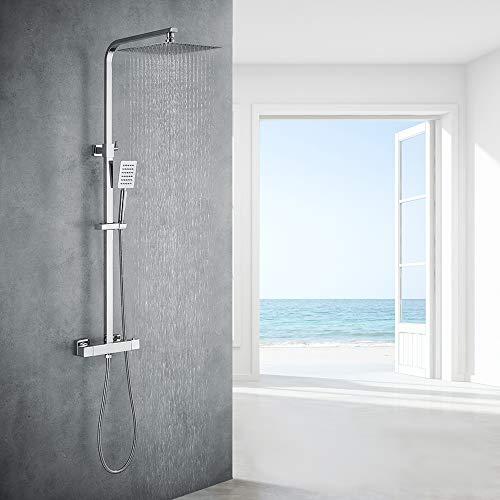 Auralum Chrom Dusche Duschsystem mit Thermostat, 2 Funktionen Duschset...