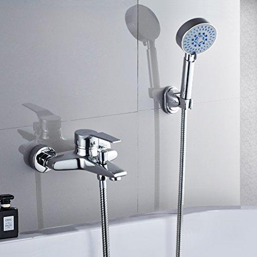 Badewannenarmatur mit Handbrause, BONADE Chrom Wannenarmatur Badewanne...