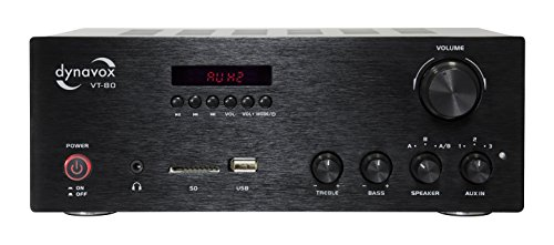 Dynavox Stereo Kompakt-Verstärker VT-80 schwarz, schraubbare...