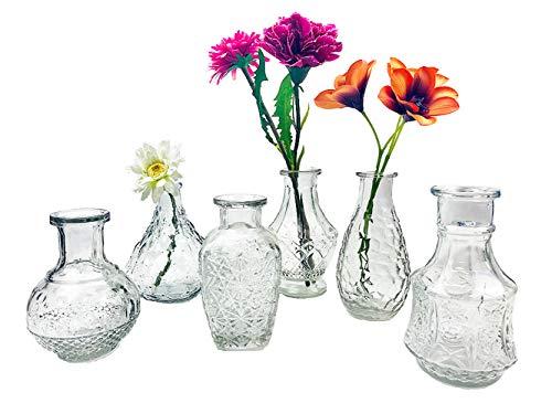 itsisa Glasvase Vintage, Klarglas Vase, H: 11,5-14,5 cm, 6er Set -...