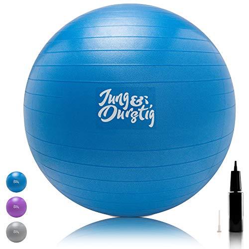Jung & Durstig Gymnastikball inkl. Luftpumpe | Yoga und Pilates Ball...