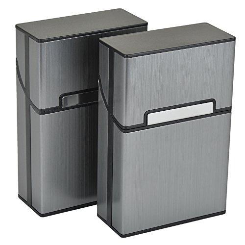 Aluminium Zigarettenetuis von eLander [2er/Set, Grau] Magnetisierte...