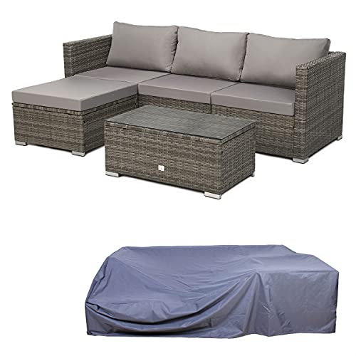 SVITA Queens Polyrattan Lounge Eck-Sofa Gartenmöbel Sitzgruppe Haube...