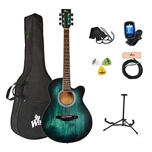 Winzz Akustikgitarre Blau-grün, Westerngitarre 40 Zoll, Gitarre...