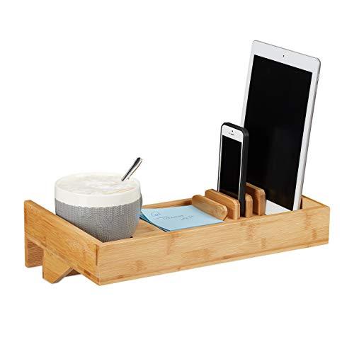 Relaxdays Bettablage, Mini-Nachttisch zum Anklemmen, aus Bambus,...