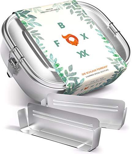 FOXBOXX® Brotdose Edelstahl   Premium   GRATIS  2 Trenner / 3...