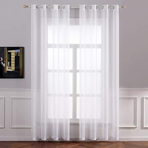 MIULEE 2er Set Sheer Voile Vorhang mit Ösen Transparente Gardine aus...